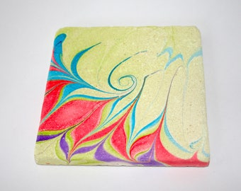 Hand marbled stone tile with fountain design.(033)