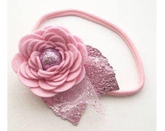Large Pink bloom, flower girl headband, pink headband, cake smash prop, wedding accessories