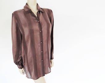 Silk Shirt, UK, Ladies Vintage, Secretary Blouse, Women's Clothing, Secretary Shirt, Blouse, Silk Blouse, Brown Silk Top, Shirts