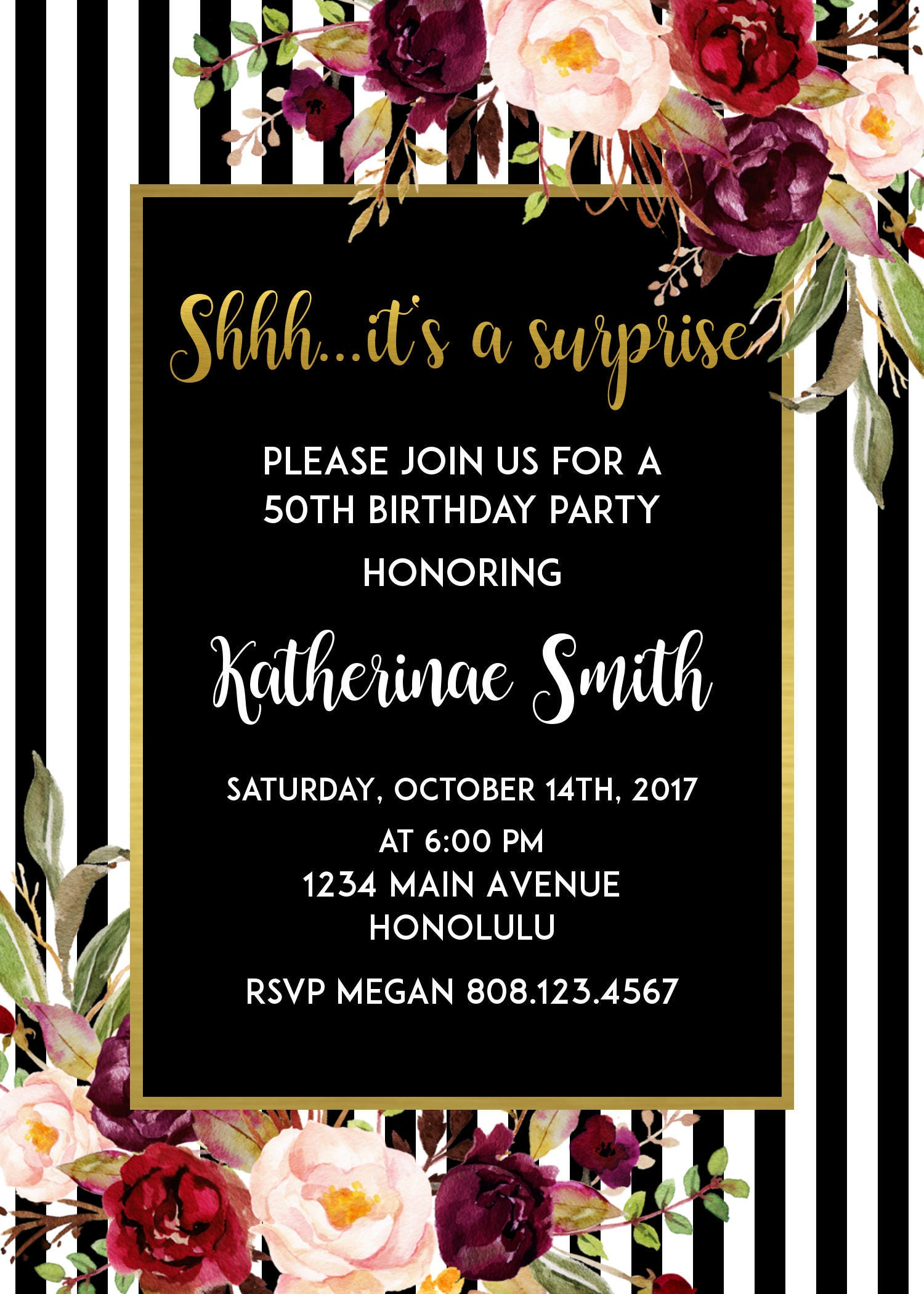 50th birthday invitation for women black and white birthday 50th birthday invitation for women black and white birthday invitations red floral surprise birthday filmwisefo Images