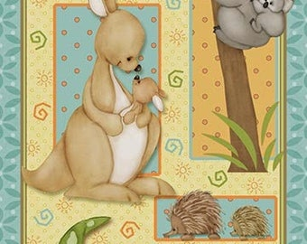 PANEL - Mommy and Me by Shelly Comiskey for Henry Glass,#6353P-11, Mommies and their babies! Koalas, Kangaroos, Birds, Hedgehogs, Alligators
