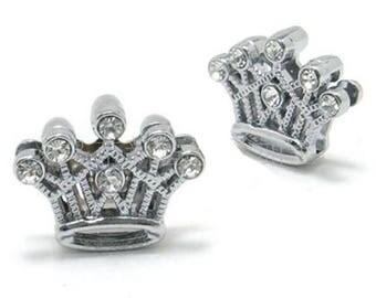 2 Rhinestone Princess Crown Slide Charm Bead Slide 11mm Name Bracelet Wristbands Bracelet Adjustable Wristband Pet Collar Charm #983