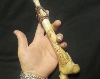 Carved Bone Knife - Deer leg bone knife - Bone Athame - Flint Knapping Carved Knife - Deer bone knife - Athame - Alter knife