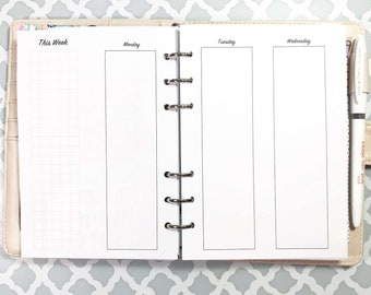 Personal WIDE Size UNDATED Vertical Week on Four Pages, WO4P, Vertical Layout Inserts for Ringbound Planners