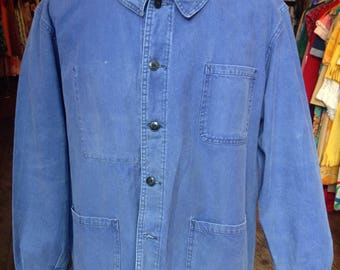 1950s Faded Blue French Work Jacket
