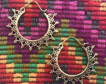 Tribal Sun Hoop Earrings in Brass