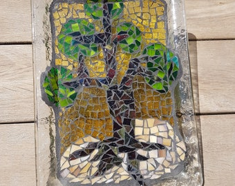 Glass mosaic,handmade,Tables,plates,Glass Pictures,gift,living room,mixed media collage,blue,brown,green,flowers,Leaves