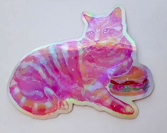 Rainbow Galaxy Die-Cut Holographic Burger Cat Stickers