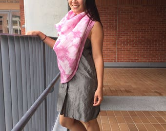 Natural-dyed linen scarf/shawl with cochineal