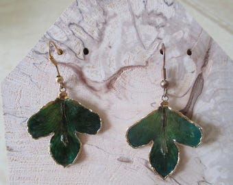 green jade and gold plated earrings