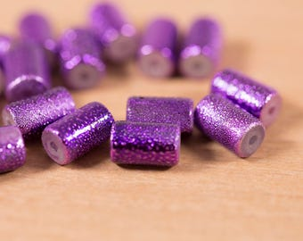 16 count 10mm vintage glass beads metallic purple painted rondelle barrel shaped bead destash