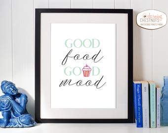 Kitchen art, Good Food Good Mood, food print, kitchen art quote, foodie art, bakery art, kitchen print, Kitchen Decor, Minimalist Wall Art