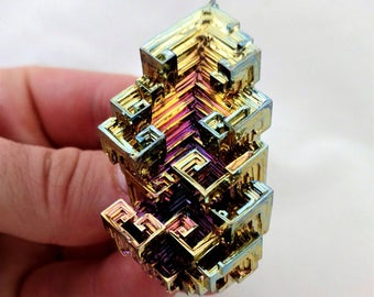 Rainbow Bismuth Crystal 65g Lab Grown Jewelry Display Specimen Educational Metaphysical Metal Healing Stone