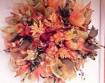 fall decomesh wreath- front door wreath-wreath-autumn wreath
