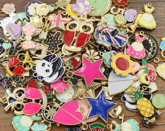 50pcs LIQUIDATION Assorted Enamel Charm Gold Tone Much Cheaper Price - EH4