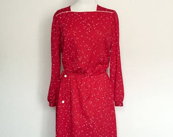 1980's Red/Pink Long Sleeved Dress Vintage