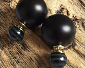 Beautiful and classy black and grey stripes double pearls earrings (French style tribal chic studs)