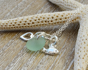 Sea Glass Necklace, Sea Glass Silver Pendant,  Beach Glass Necklace,  Beach Jewellery,  Beach Lovers Gift,  Valentines Gift For Her