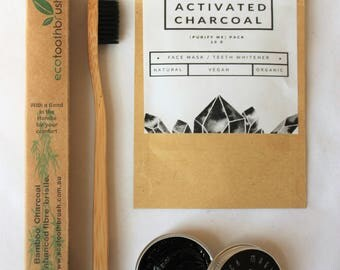 Charcoal Detox Set / Toothpaste + Facemask + Eco Toothbrush / Vegan Organic Natural Teeth Whitener No Nasties No Toxins  / Australian Made