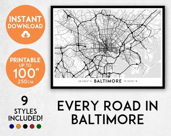 Baltimore map print, Printable Baltimore city map art, Baltimore print, Maryland map, Baltimore art, Baltimore poster, Baltimore wall art
