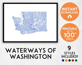 Washington map print, Washington print, Washington poster, Washington wall art, Map of Washington, Washington art print, WA map, USA map