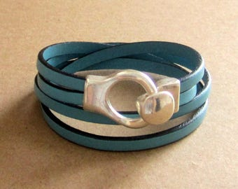 Leather Bracelet sky blue, 2 wrap, silver plated hook clasp