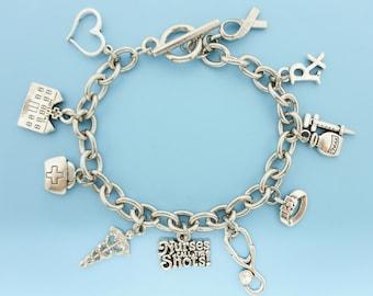 Nurse Charm Bracelet Caduceus Stethoscope Silver Charms Nurse Gift Nurse bracelet Nurse jewelry