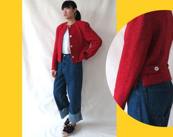 Vintage 80s Red Cropped Wool Jacket • Retro Shoulder Pad Jacket Power Dressing Structure Dot Tweed Jacket • Made in Italy • M Medium L Large