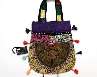 Handmade Ethnic Designer Tribal Banjara Patchwork Embroidered Hippy Fashionable Stylish Trendy Hippie Gypsy Boho Bohemian Carry Bag G267