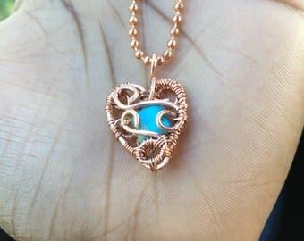 Artisan Gemstone Necklace- Handmade Heart Pendant - Gemstone Heart Necklace - Heart Pendant - Copper Necklace