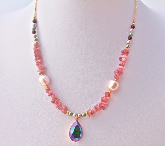 Bridal Bohemian chic stone fine tourmaline, pearls and gold plated chain with swarovski pendant