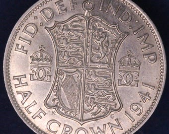 GENUINE 1941 George VI KGVI 50% Silver Half Crown  2/6 excellent coin *[11881]