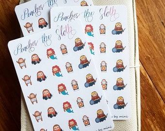 Sloth Planner Stickers-- Sloth Costumes| Mermaid Sloth| Coffee Sloth| Free Hugs Sloth| Adorable Sloth Planner Stickers