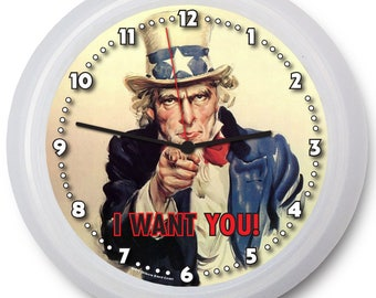 "Patriotic ""Uncle Sam - I Want You!"" 9"" Wall Clock w/FREE battery!"