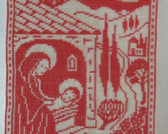 Vintage Swedish Hand Embroidered Cross Stitch Nativity Picture Red and White God Jul 1977
