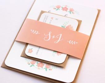 Floral Wedding Invitation Set | Vintage Wedding | Rustic Wedding Invitations
