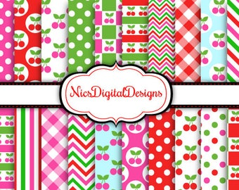 Buy 2 Get 1 Free-20 Digital Papers. Cherry Mixed Patterns (2D no 5) for Personal Use and Small Commercial Use Scrapbooking