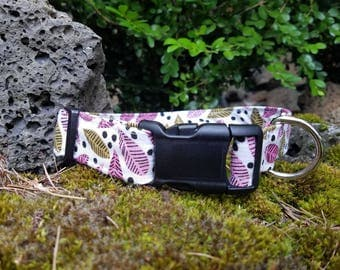 Cute Pink and Olive Green Leaf Pattern Dog Collar