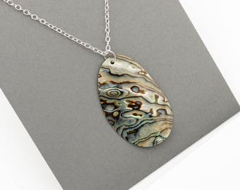 Abalone paua shell necklace with silver chain; statement necklace; blue green necklace; adjustable necklace; silver necklace; paua pendant