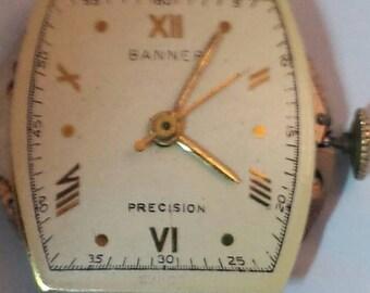 Banner 1940's , 50's 17 Jewel Swiss Wrist Watch , Running