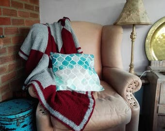 Handmade Knitted grey and maroon blanket measures 120 x 150cm checked