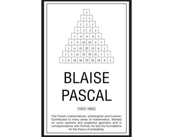 Math Poster,  Printable Poster, Maths, Education, Mathematicians, Pascal