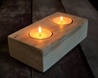 Handmade Wooden Candle Holder // Upcycled English Ash mill waste