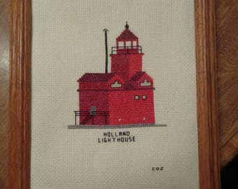 Cross Stitch Picture  Holland Mi..  Lighthouse