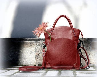 Red folding leather bag medium size top handle zippered tote shoulder bag Fold-over purse leather crossbody women's handbag practical gift