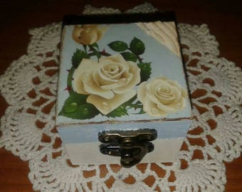 box for wooden rings, decoupage earrings white roses gift idea