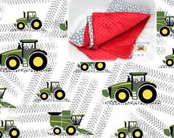 White Road Tractor Blanket Tractor Toddler Bedding Cars Crib Blanket Cotton Minky Blanket Girl Crib Bedding Tractor Crib Bedding