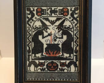 Witch's Brew is a Halloween Vintage cross stitch