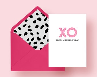 Valentine's Day Card + Lined Envelope - 5x7, XO Valentine's Day Card, Pink Valentine's Day Card, A7 Valentine's Day Card