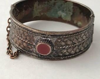 Bronze bracelet, hinged bangle bracelet, bronzed bracelet, red bangle, Chain bracelet